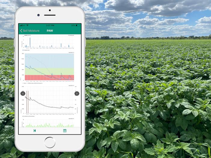 Soil moisture levels on the FieldClimate app